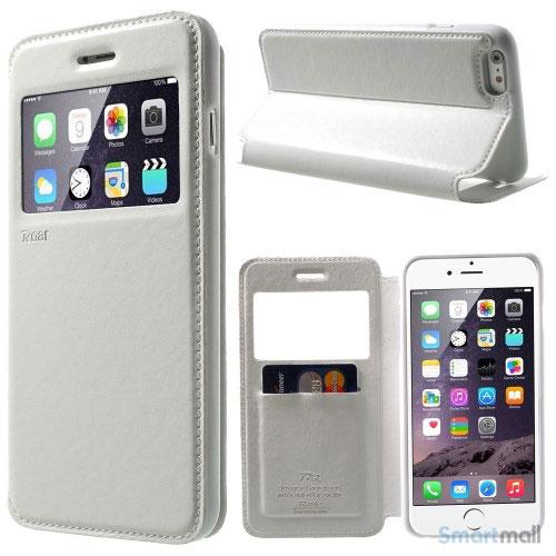 ROARKOREA laedercover m-frontvindue til iPhone 6-6S PLUS - Hvid