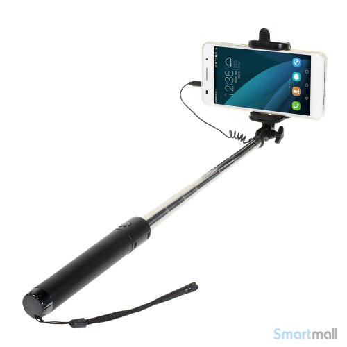Smart selfie stick med mount holder & minijack til iPhone 6/6S/6 PLUS – Sort