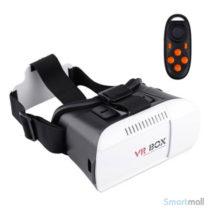 3D VR BOX headset m/fjernbetjening til iPhone, Samsung, mfl.