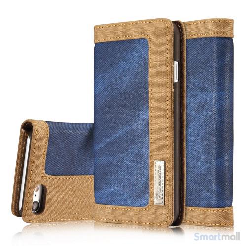 Apple iPhone 7 CASEME Canvas læderpung m/kortholder - Blå