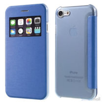 Apple iPhone 7 cover i lækkert læder-design m/vindue til display - Blå