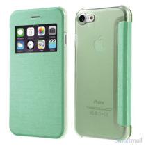Apple iPhone 7 cover i lækkert læder-design m/vindue til display - Grøn