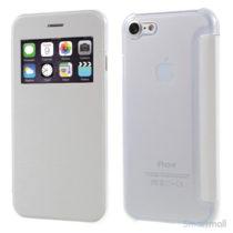 Apple iPhone 7 cover i lækkert læder-design m/vindue til display - Hvid
