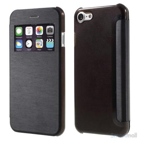 Apple iPhone 7 cover i lækkert læder-design m/vindue til display - Sort