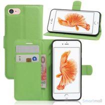 Apple iPhone 7 læderpung i klassisk design m/kortholder - Grøn2