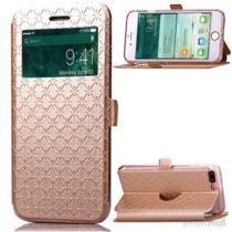 Diamond Lozenge flipcover m/vindue-touch & kortholder til iPhone 7 Plus - Guld
