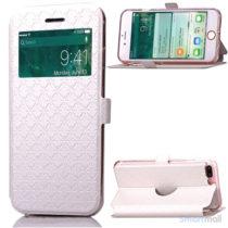 Diamond Lozenge flipcover m/vindue-touch & kortholder til iPhone 7 Plus - Hvid