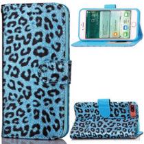 Feminint leopard-mønstret cover i læder til iPhone 7 Plus - Blå
