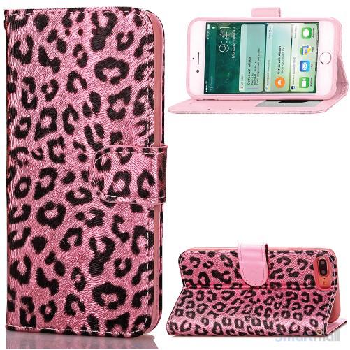 Feminint leopard-mønstret cover i læder til iPhone 7 Plus - Pink