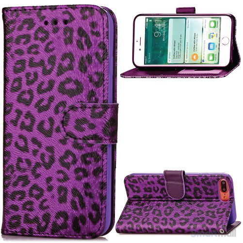 Feminint leopard-mønstret cover i læder til iPhone 7 Plus - Lilla