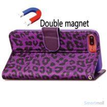 Feminint leopard-mønstret cover i læder til iPhone 7 Plus - Lilla4