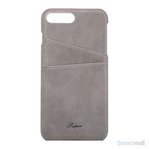 Flot læderbelagt hardcase cover til iPhone 7 Plus - Lysegrå