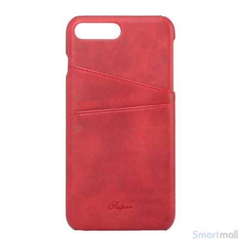 Flot læderbelagt hardcase cover til iPhone 7 Plus - Rød