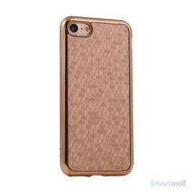 Flot luksuriøst lædercover m/mønster til iPhone 7 - Guld