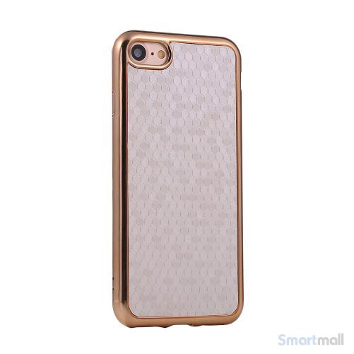 Flot luksuriøst lædercover m/mønster til iPhone 7 - Sølv