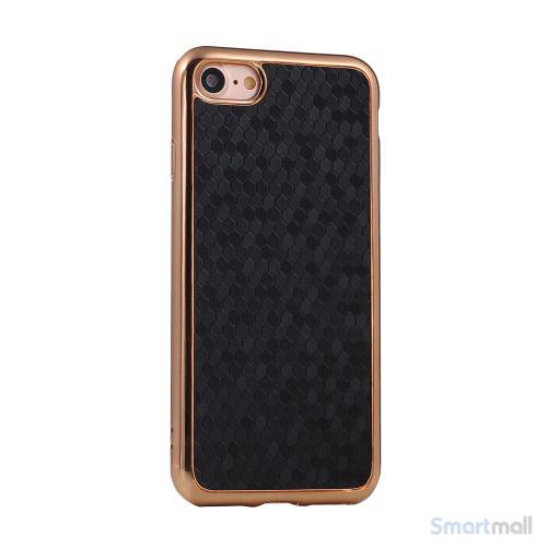 Flot luksuriøst lædercover m/mønster til iPhone 7 - Sort