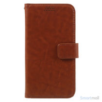 Klassisk flot læderpung m/standfunktion & kortholder til iPhone 7 - Brun
