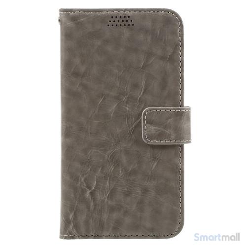 Klassisk flot læderpung m/standfunktion & kortholder til iPhone 7 - Grå