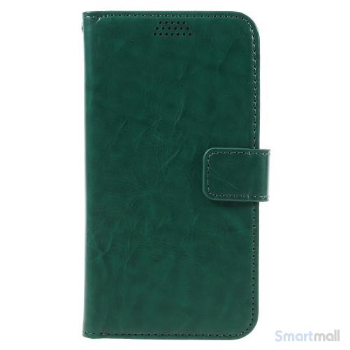 Klassisk flot læderpung m/standfunktion & kortholder til iPhone 7 - Grøn
