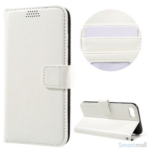 Klassisk flot læderpung m/standfunktion & kortholder til iPhone 7 - Hvid