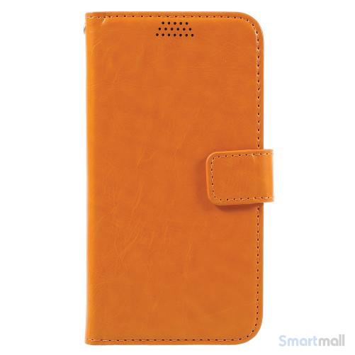Klassisk flot læderpung m/standfunktion & kortholder til iPhone 7 - Orange