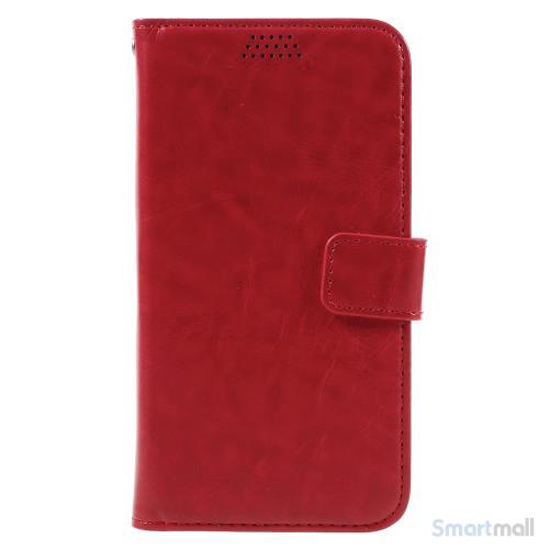 Klassisk flot læderpung m/standfunktion & kortholder til iPhone 7 - Rød