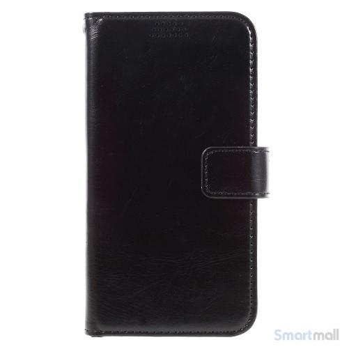 Klassisk flot læderpung m/standfunktion & kortholder til iPhone 7 - Sort