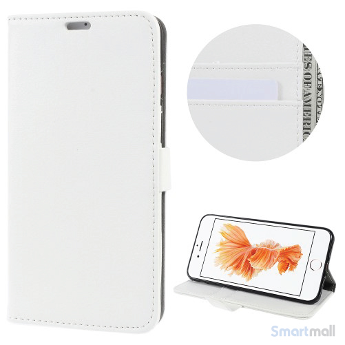 Klassisks læderpungs cover fra Litchi m/kreditkortholder - Hvid