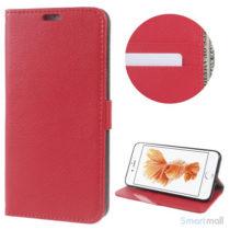 Klassisks læderpungs cover fra Litchi m/kreditkortholder - Rød