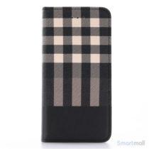 Læderpung i ternet design m/kortholder til iPhone 7 - Gul
