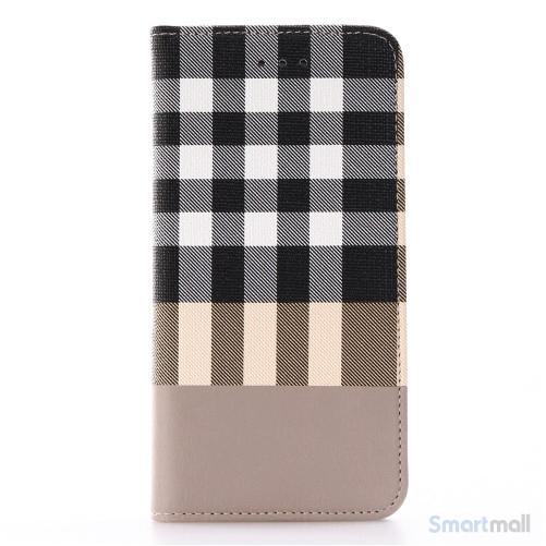 Læderpung i ternet design m/kortholder til iPhone 7 - Hvid