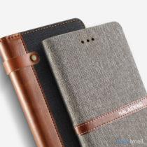Lækker kvalitets-læderpung fra KLD Funwear m/kortholder til iPhone 7 - Grå
