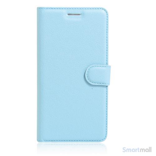 Litchi lædercover i flot klassisk design m/kortholder til iPhone 7 Plus - Blå
