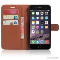 Litchi lædercover i flot klassisk design m/kortholder til iPhone 7 Plus - Brun5