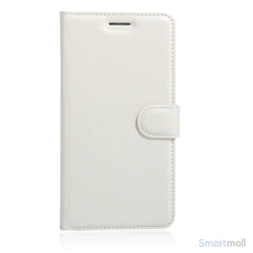 Litchi lædercover i flot klassisk design m/kortholder til iPhone 7 Plus - Hvid