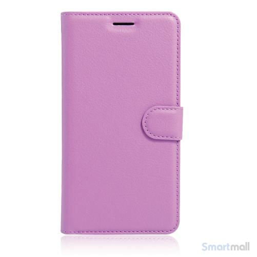 Litchi lædercover i flot klassisk design m/kortholder til iPhone 7 Plus - Lilla
