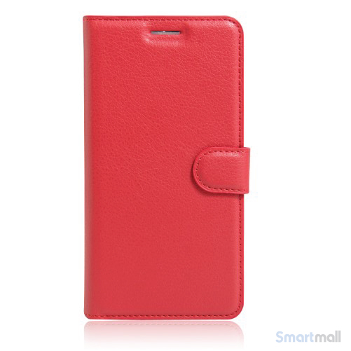 Litchi lædercover i flot klassisk design m/kortholder til iPhone 7 Plus - Rød