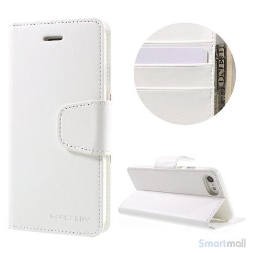 MERCURY GOOSPERY Sonata Diary læderpungs-cover til iPhone 7 - Hvid