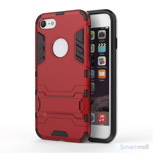 Robust TPU Hybrid cover m/støtte-fod til iPhone 7 - Rød
