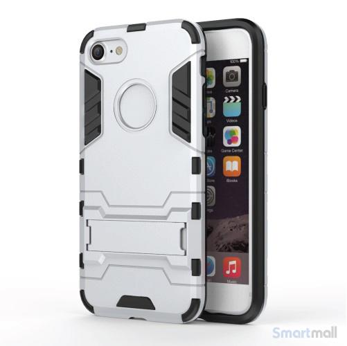 Robust TPU Hybrid cover m/støtte-fod til iPhone 7 - Sølv