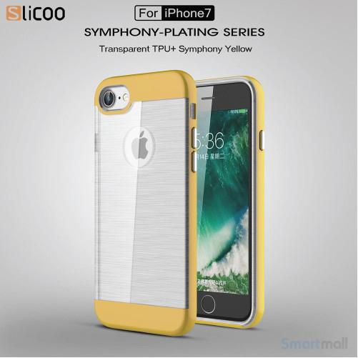 SLICOO TPU-cover med forgyldt ramme & børstet overflade til iPhone 7 - Gul