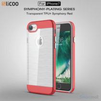 SLICOO TPU-cover med forgyldt ramme & børstet overflade til iPhone 7 - Rød