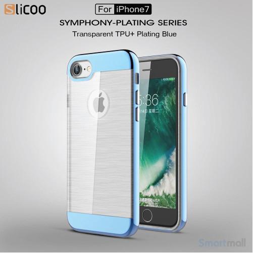 SLICOO TPU-cover med forgyldt ramme & børstet overflade til iPhone 7 - Blå