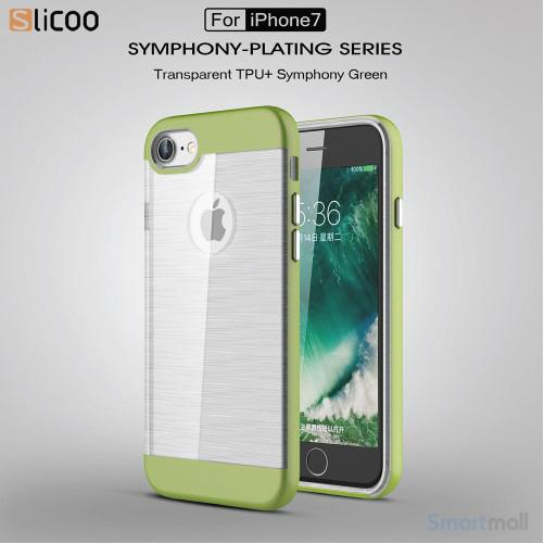SLICOO TPU-cover med forgyldt ramme & børstet overflade til iPhone 7 - Grøn