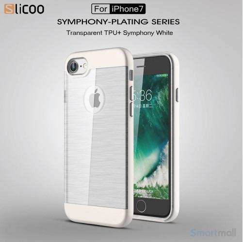 SLICOO TPU-cover med forgyldt ramme & børstet overflade til iPhone 7 - Sølv
