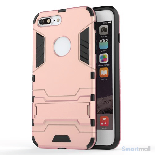 Solid PC + TPU Hybrid cover m/støttefod til iPhone 7 Plus - Pink