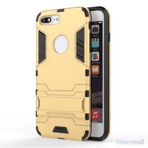 Solid PC + TPU Hybrid cover m/støttefod til iPhone 7 Plus - Guld