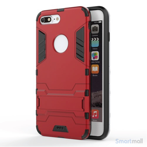 Solid PC + TPU Hybrid cover m/støttefod til iPhone 7 Plus - Rød