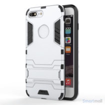 Solid PC + TPU Hybrid cover m/støttefod til iPhone 7 Plus - Sølv