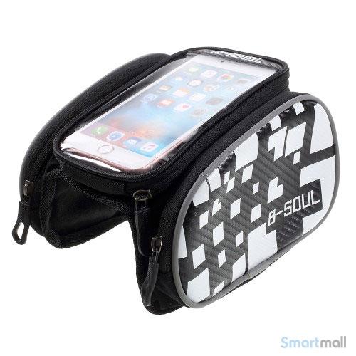 """B-SOUL universal cykeltaske til smartphone m/vindue touch 5.5"""" skærm - Hvid"""